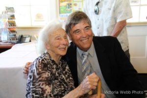 Sybil and Mayor Glass at her retirement party in 2013